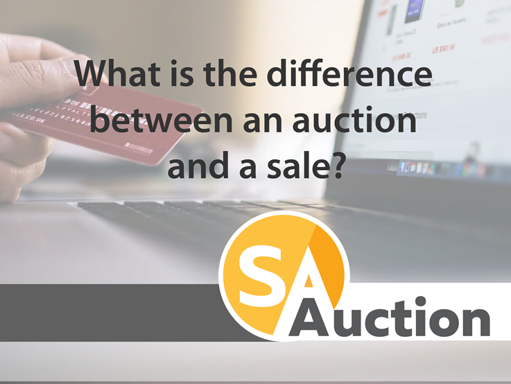 What is the difference between an auction and a sale?